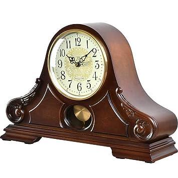 Relojes de mesa para la Sala de Estar Decoración Dormitorio Vintage Reloj Reloj Funciona con batería Analógico Sin tictac Silencio Estilo Europeo Madera ...