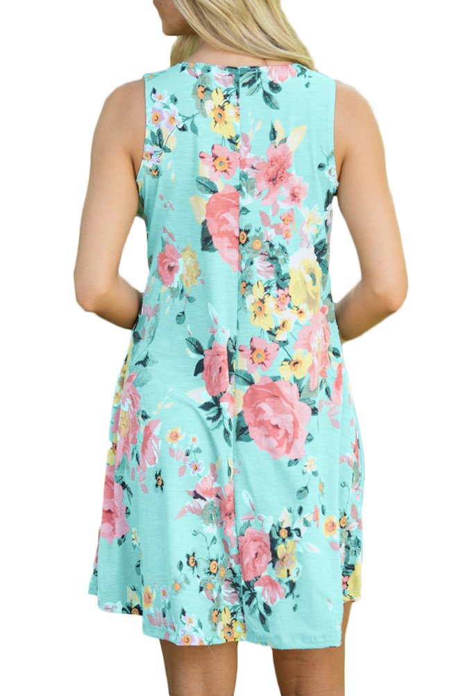 Spadehill Women's Loose Fit Sundress Floral Printed Boho Beach Swing Casual Pocket Sleeveless Cotton Tank Tunic Dress Green L by Spadehill (Image #6)