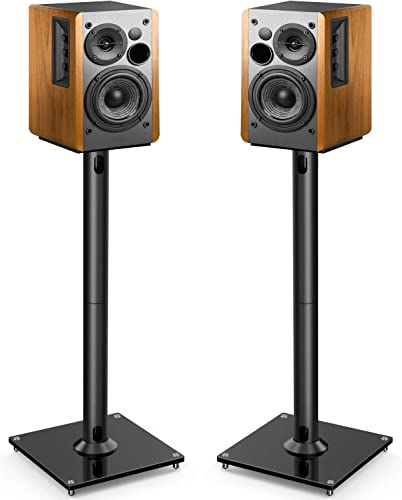 Mount-It Bookshelf and Floor Speaker Stands for Surround Sound Home Theaters, 18 Inch High, 22 Lbs Capacity, Tempered Glass and Aluminum, Clear and Silver, One Pair