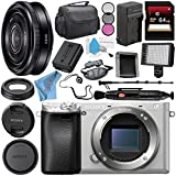 Sony Alpha a6300 Mirrorless Digital Camera (Silver) ILCE-6300/S + Sony E 20mm f/2.8 Lens SEL20F28 + NP-FW50 Replacement Lithium Ion Battery + External Rapid Charger Bundle