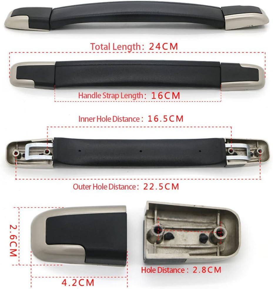 Noir//argent/é Total Lenght About 24cm//9.45inch RDEXP Noir Flexible de Notebook Sangle Poign/ée Grip de Remplacement pour Valise Bagages Coque
