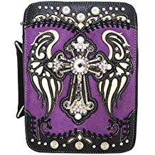 WF Western Style Embroidered Scripture Bible Verse Cover Books Case Cross Extra Strap Messenger Bag
