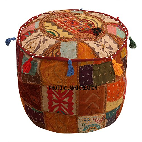 Ottoman Cover Brown Cotton Floral Traditional Furniture Footstool Seat Puff Cover (18x18x13)Ethnic Pouf Cover Round Indian Patchwork Embroidered Pouffe,Cotton Vintage Patchwork Embroidered Embellished