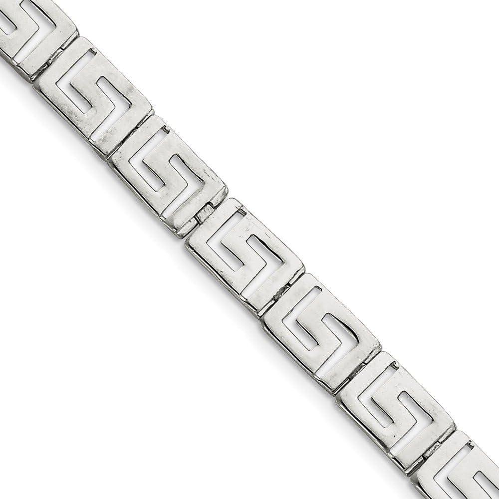 Stainless Steel Greek Key Design Link Bracelet.