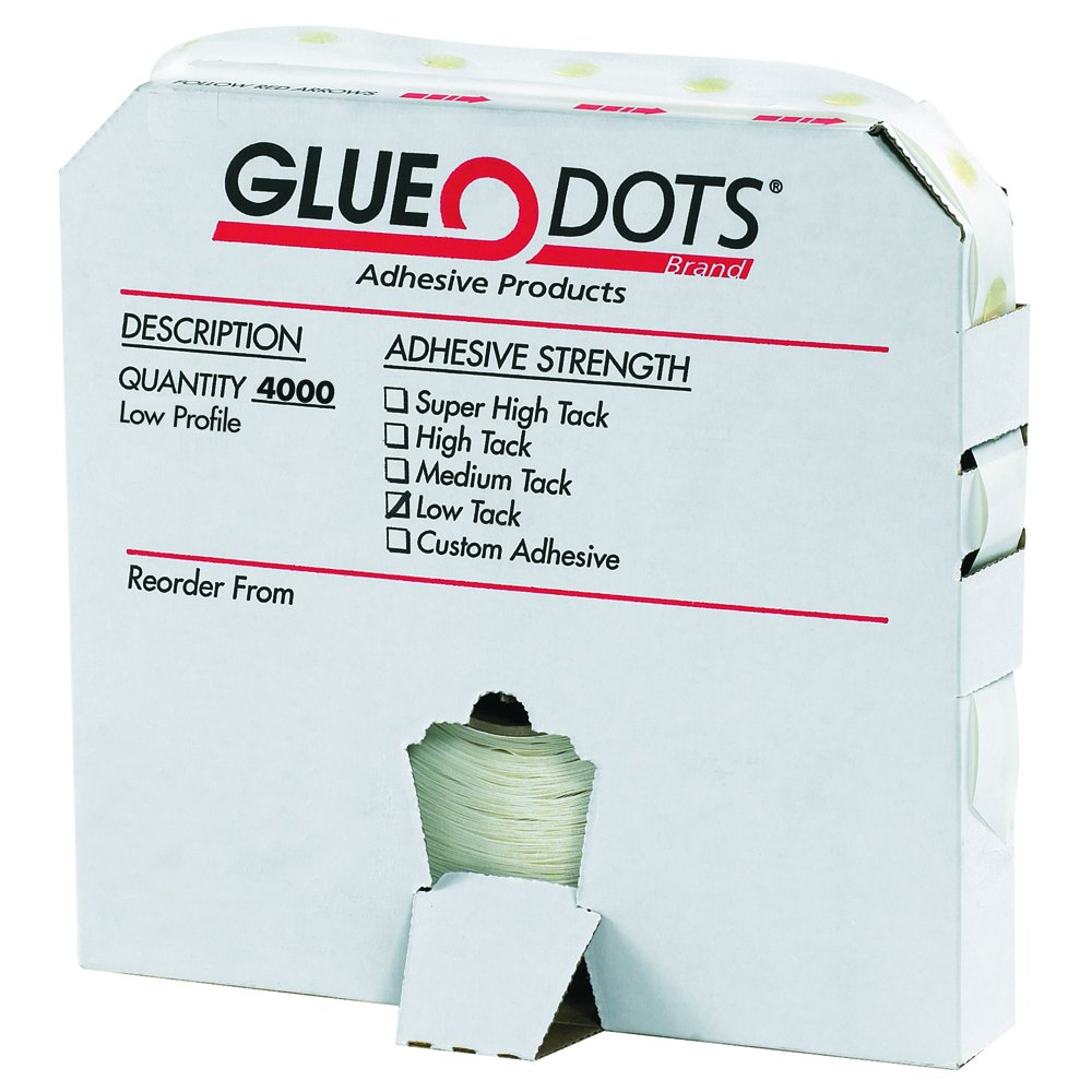 Glue Dots GD101 1/2'' - Low Tack - Low Profile (Pack of 4000)