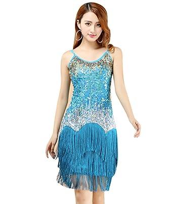 f8e07dd8e7a YiJee Femme Robe de Danse Latine Rumba Danse Vintage Costume Cocktail Robes  Bleu Clair  Amazon.fr  Vêtements et accessoires