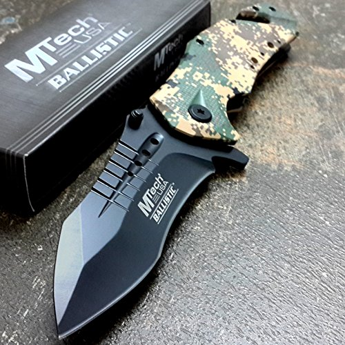 M-TECH KNIVES Assisted Opening Knives DESERT ARMY CAMO Rescue Tanto Knife