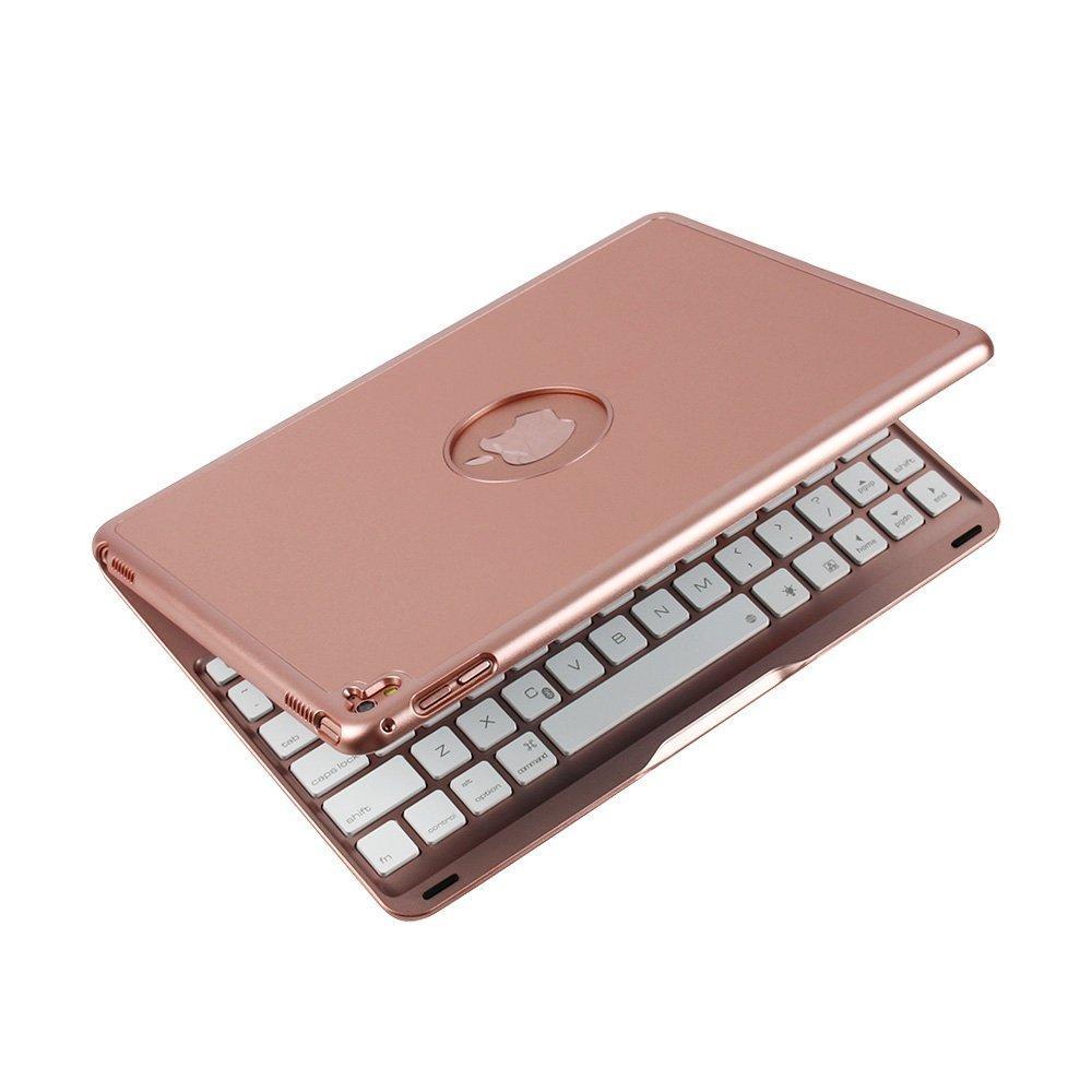 FuriGer iPad Mini Keyboard Case, Bluetooth 7 Colors Adjustment Backlit Wireless Keyboard Ultrathin, Aluminium, Lightweight and portable Cover with Auto Wake/Sleep for iPad Mini 1/2/3 - Rosegold