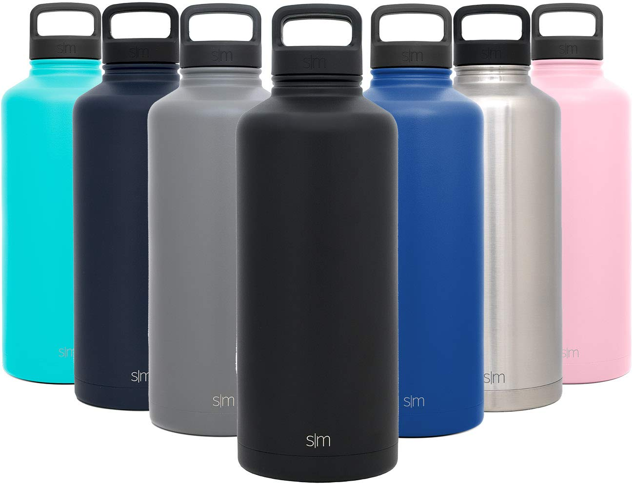 Simple Modern 84oz Summit Water Bottle - Stainless Steel Half Gallon Flask +2 Lids - Wide Mouth Double Wall Vacuum Insulated Black Leakproof - Midnight Black