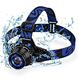 STCT Street Cat Upgraded Rechargeable LED Headlamp 3 Modes,Zoomable and Waterproof Headlamp for Free Work, Hiking, Camping, Climbing, Running and Adventure-Blue