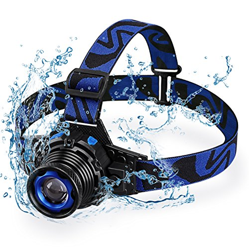 Rechargeable LED Headlamp, Super Bright Waterproof Zoomable Head Light for Running, Hiking, Camping, Climbing, Adventure, Blue