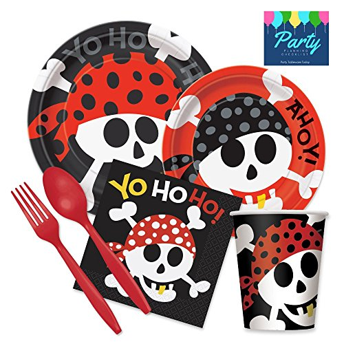 Pirate Party Supplies Pack - For 16 Guests Including Dinner Plates, Dessert Plates, Cups, and Napkins by Party Tableware Today