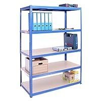 Étagère de rangement de garage bleue 5 : 180cm x 120cm x 60cm (175kg par étagère), capacité de 875kg, espace de rangement très profond