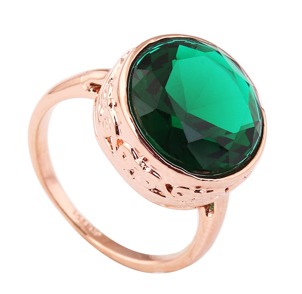 Acefeel Vintage Style Gold Plated Dark Green Crystal Emerald Ring Mother Grandmother's Gift R226