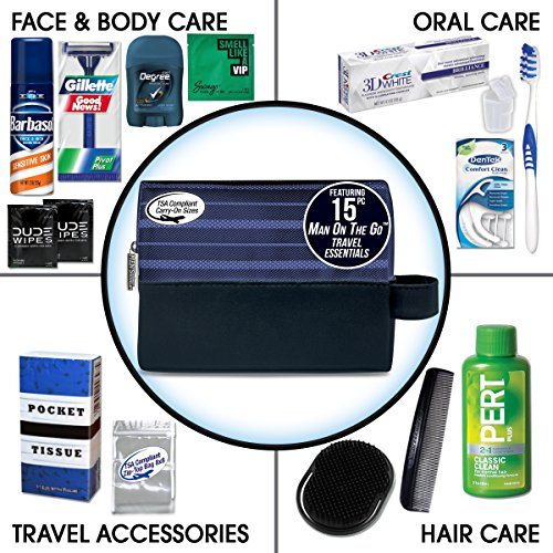 Convenience Kits International Men s Premium 15-Piece Assembled Travel Kit Featuring Gillette and Barbasol Shave Products
