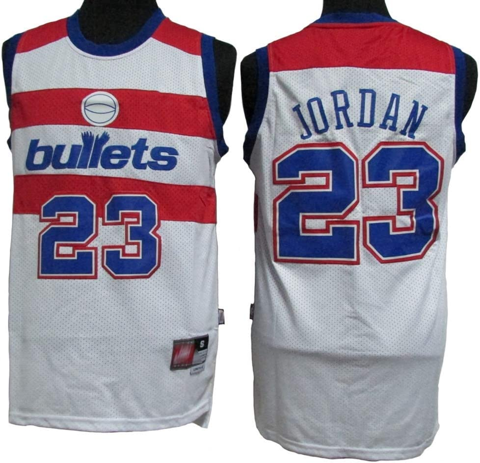 Tela Transpirable Fresca Vintage 170cm//50~65kg Chaleco de Baloncesto para Hombre BXWA-Sports Michael Jordan # 23 Jersey cl/ásico All-Star Unisex Fan Uniform Bullets Edition,Azul,S
