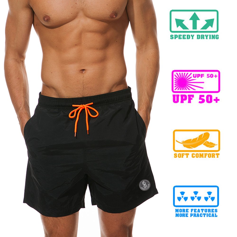CROSS1946 Men's Swim Trunk Drawstring Solid Briefs Slim Fit Swimsuit Quick Dry Board Shorts with Mesh Lining S