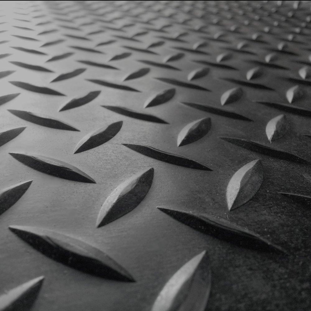 3mm x 4ft Wide Rolls Rubber-Cal Diamond Plate Rubber Flooring Rolls