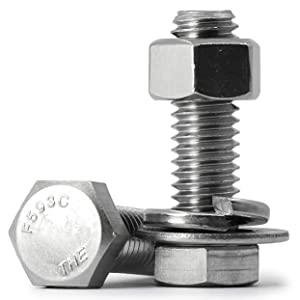 """6 Sets 3/8-16x2"""" Stainless Steel Hex Head Screws Bolts, Nuts, Flat & Lock Washers Kits, 304 Stainless Steel 18-8, Fully Machine Thread, Bright Finish"""
