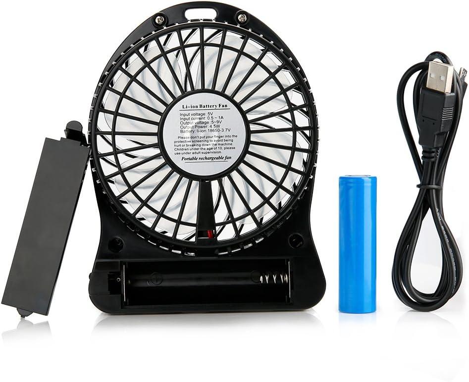 efluky Desk Fan Table Fan Mini Fan Small Quiet Fan Rechargeable Fan USB Fan Travel Fan 4 Inch 3 Speeds (Black) Black