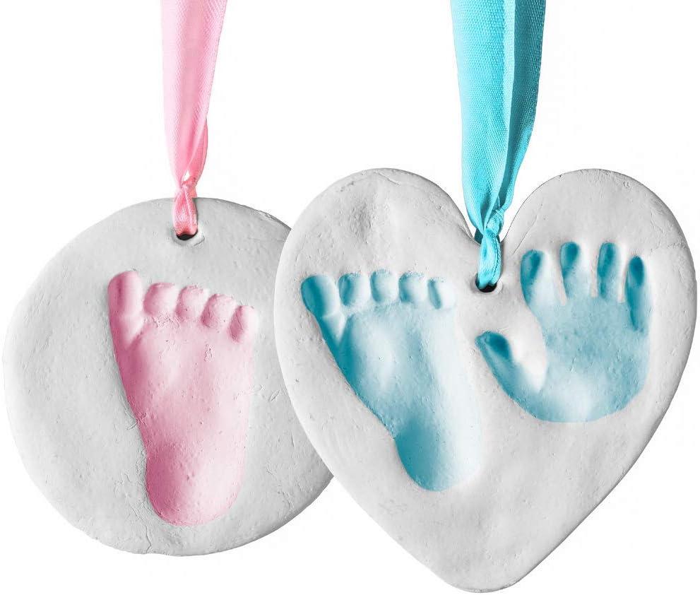 Bubzi Co Set de decoración de huellas de bebé en arcilla blanca – Regalos para bebes y recién nacidos – Recuerdo memorable de huellas de mano y pie – Ideal para decoración o regalo de baby shower
