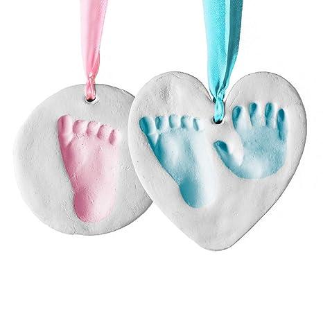 Bubzi Co Set de decoración de huellas de bebé en arcilla blanca – Regalos para bebes y recién nacidos – Recuerdo memorable de huellas de mano y pie – ...