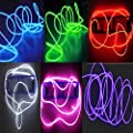 6 Pack - TDLTEK Neon Glowing Strobing Electroluminescent Wire/El Wire(Blue, Green, Red, Pink, Purple, White) + 3 Modes Battery Controllers