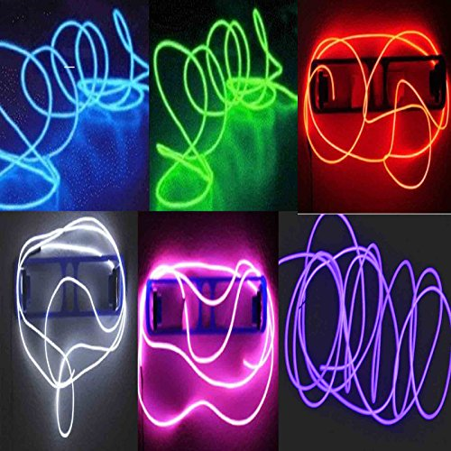 6 Pack - TDLTEK Neon Glowing Strobing Electroluminescent Wire /El Wire(Blue, Green, Red, Pink, Purple, White) + 3 Modes Battery Controllers