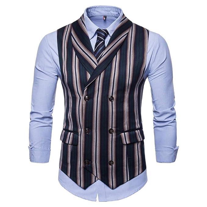 986c03b87a2d4 MODOQO Men s Lapel Casual Suit Vest Retro British Slim Fit Striped ...