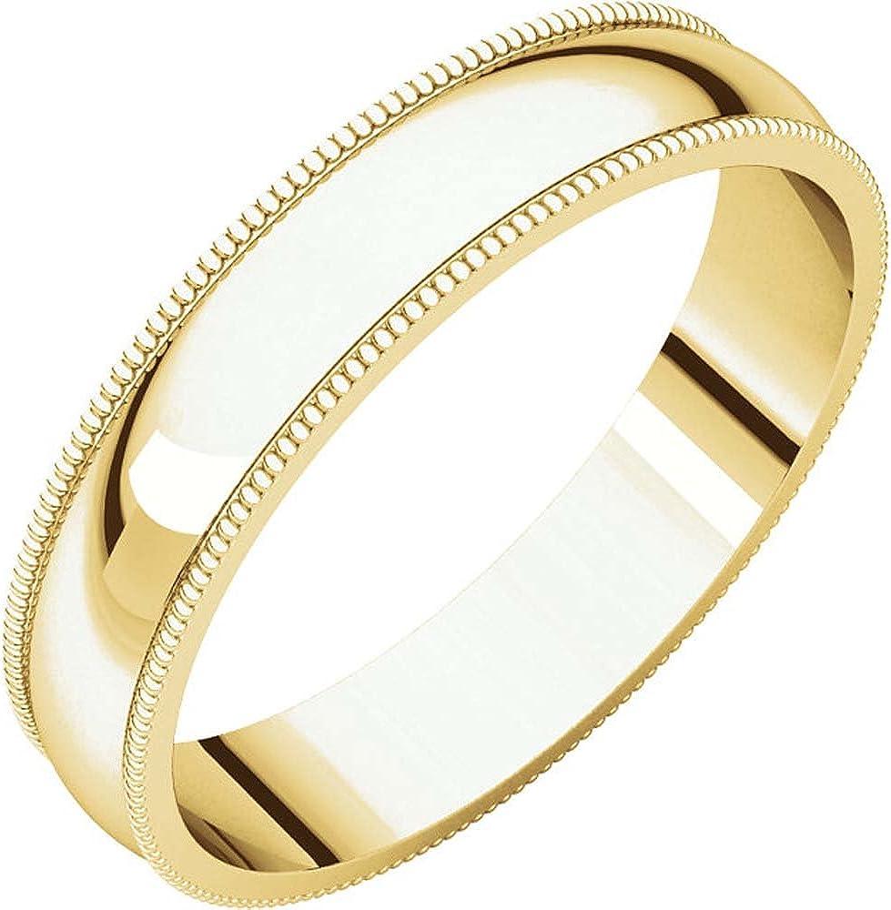 04.00 mm Milgrain Light Wedding Band Ring in 14k Yellow Gold Size 9