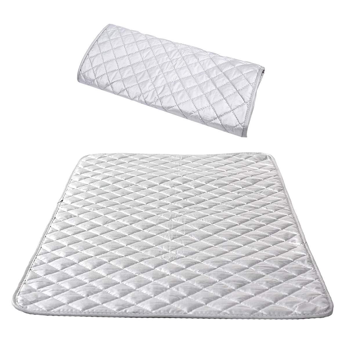 Manta de Planchar T/érmica de Algod/ón Funda para Tabla de Planchar con Revestimiento de Aluminio Reflector de Calor Antideslizante 48x85 cm