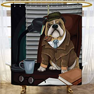 "HJHvictory English Bulldog,Shower Curtain,Traditional English Detective Dog with a Pipe and Hat Sherlock Holmes Image,Modern, Color Design,Multicolor,72""×72"""