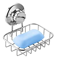 SANNO Suction Cup Soap Dish Holder, Bar Soap Sponge Holder for Shower, Bathroom, Tub and Kitchen Sink - rust proof stainless steel
