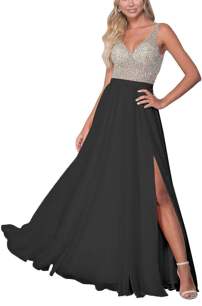 Black Staypretty Long Prom Gowns VNeck Beaded Formal Backless Evening Dresses for Women High Slit