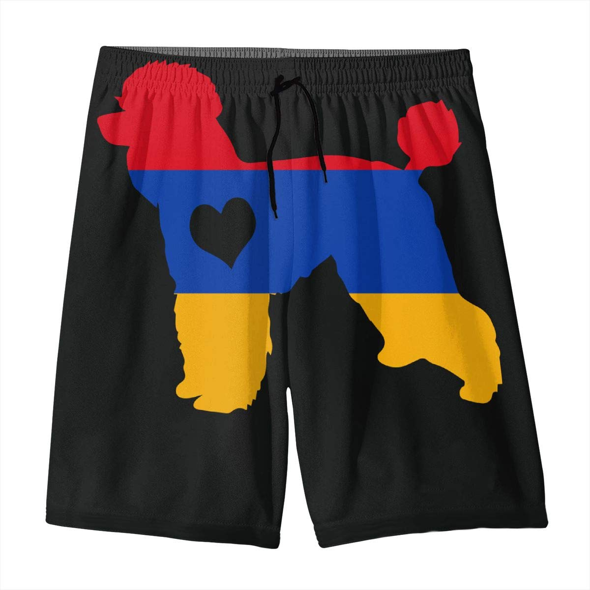 PANTRJ416 Poodle Dog Heart Armenia Flag Teen Swimwear Bathing Suits Quick Dry with Side Pockets