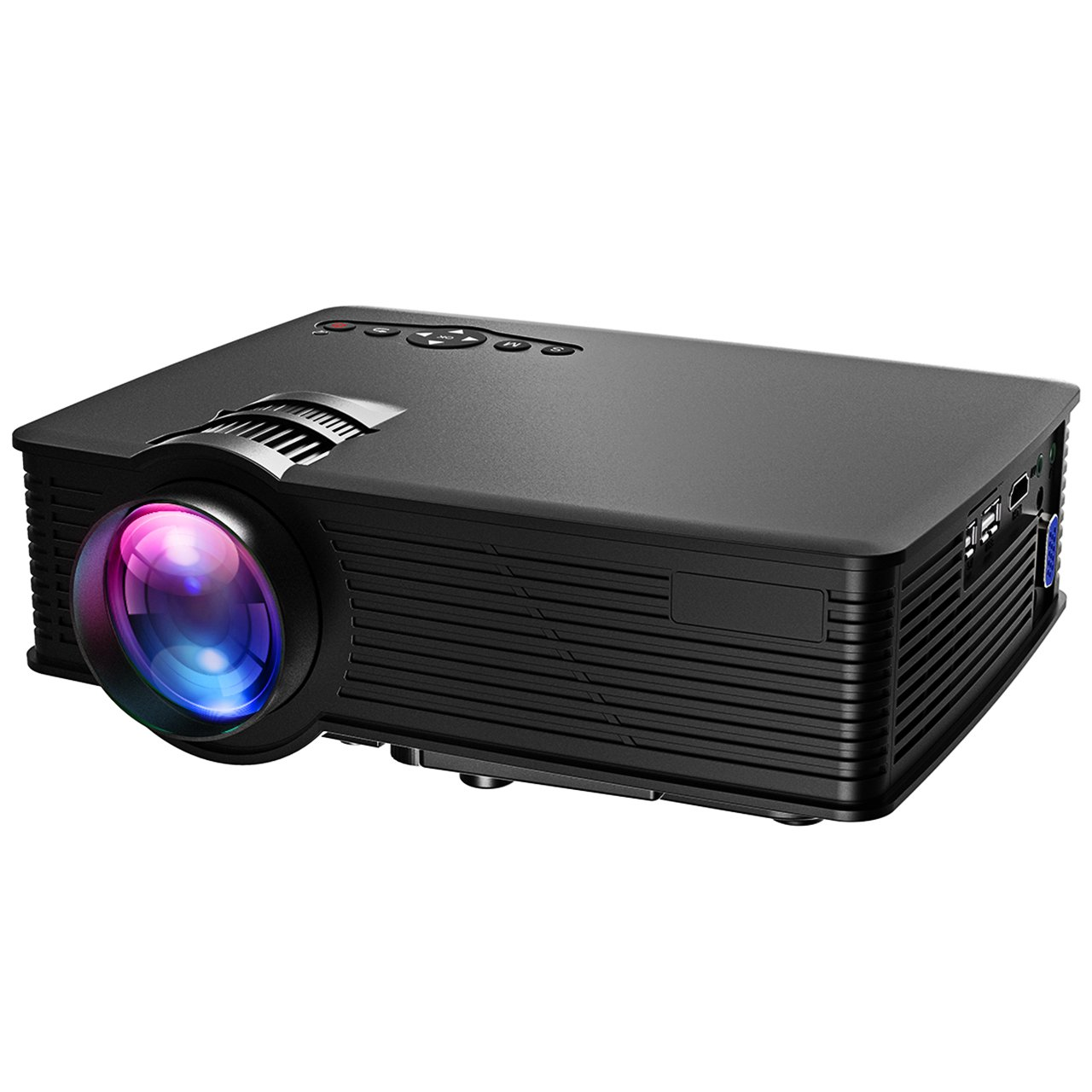 VicTsing Video Projector Mini Portable HD 1080P LED Home Projector, Support USB VGA AV HDMI SD Card Input Home Cinema Theater for Video Movie Party Games Home Entertainment, Black by VicTsing