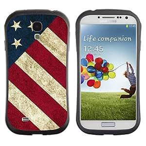 LASTONE PHONE CASE / Suave Silicona Caso Carcasa de Caucho Funda para Samsung Galaxy S4 I9500 / Stripe Flag American Rustic Patriotic