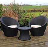 Kingfisher Rattan Effect Table and 2 Egg Chairs Bistro Set