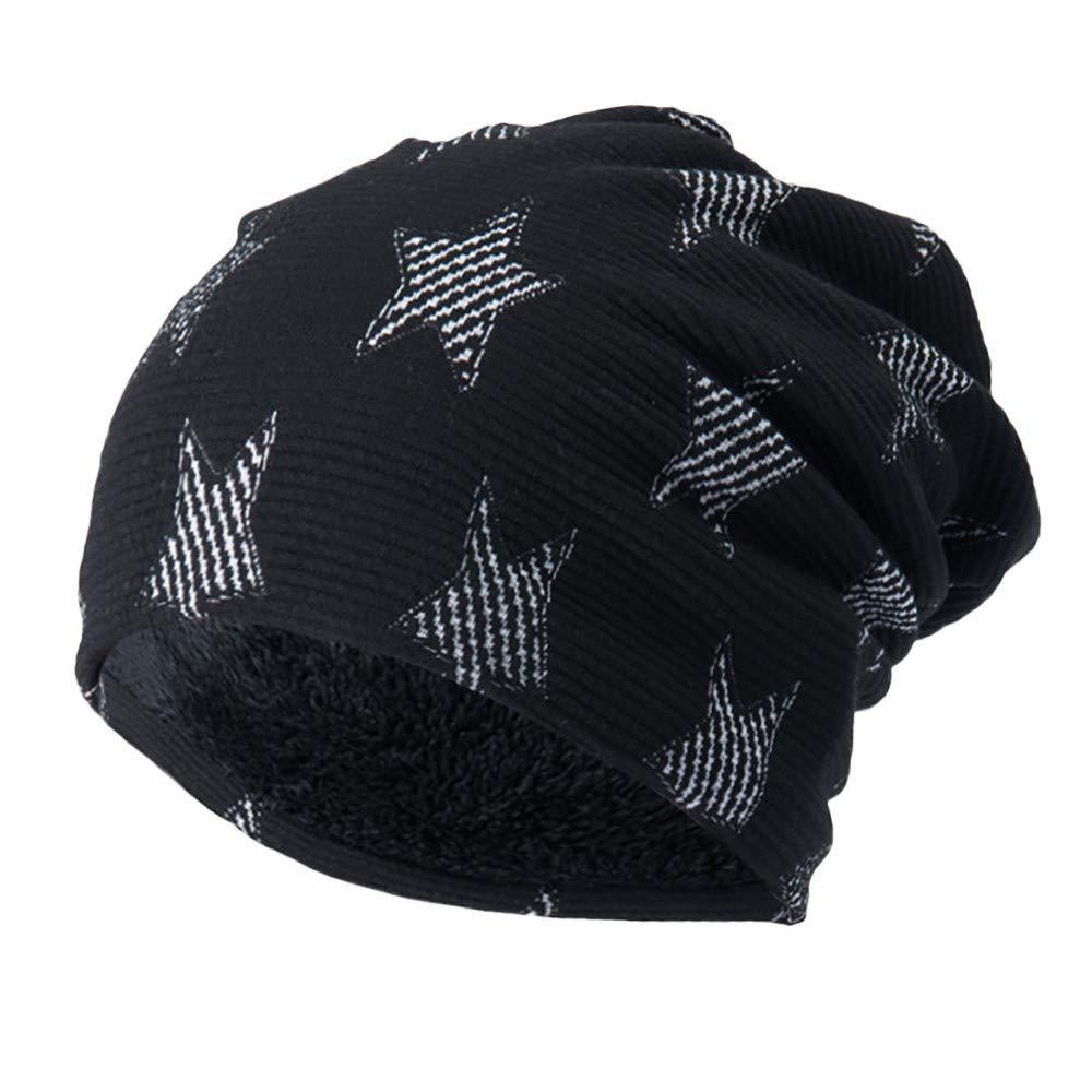 BSGSH Unisex Soft Slouchy Beanie Pentagram Printed/Solid Winter Comfortbale Ski Baggy Hat for Men Women (Black A)