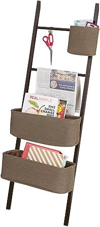 mDesign Estanteria de escalera en bambu – Sin taladro – Mueble auxiliar con cestas de tela, perfecto como organizador de escritorio para agendas, archivadores y cuadernos – Madera oscura / marrón: Amazon.es: Hogar