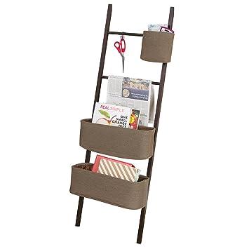 mDesign Estanteria de escalera en bambu – Sin taladro – Mueble auxiliar con cestas de tela