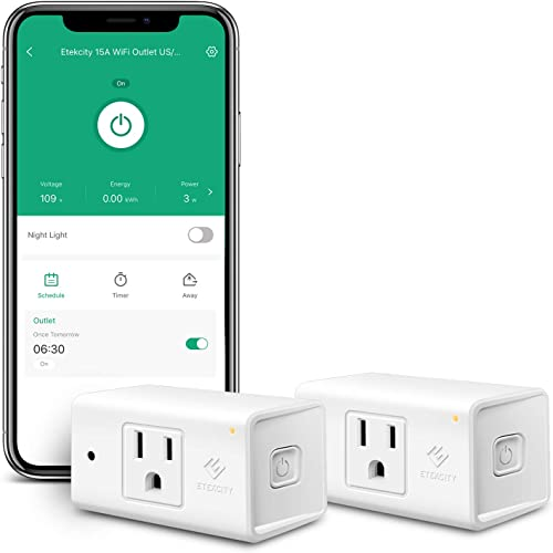 Etekcity ESW15 WiFi Energy Monitoring Smart Plug, Works with Alexa and Google Home, Compact Size, 15 Amp, White, 2 Pack