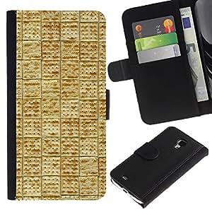 KLONGSHOP / Tirón de la caja Cartera de cuero con ranuras para tarjetas - Tile Pattern Cracker Cookie Food - Samsung Galaxy S4 Mini i9190 MINI VERSION!