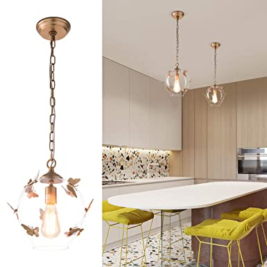YIFI Foyer Pendant Lighting Butterfly Decorative Adjustable Hanging Pendant Light for Dining Room Kitchen Bedroom, Small