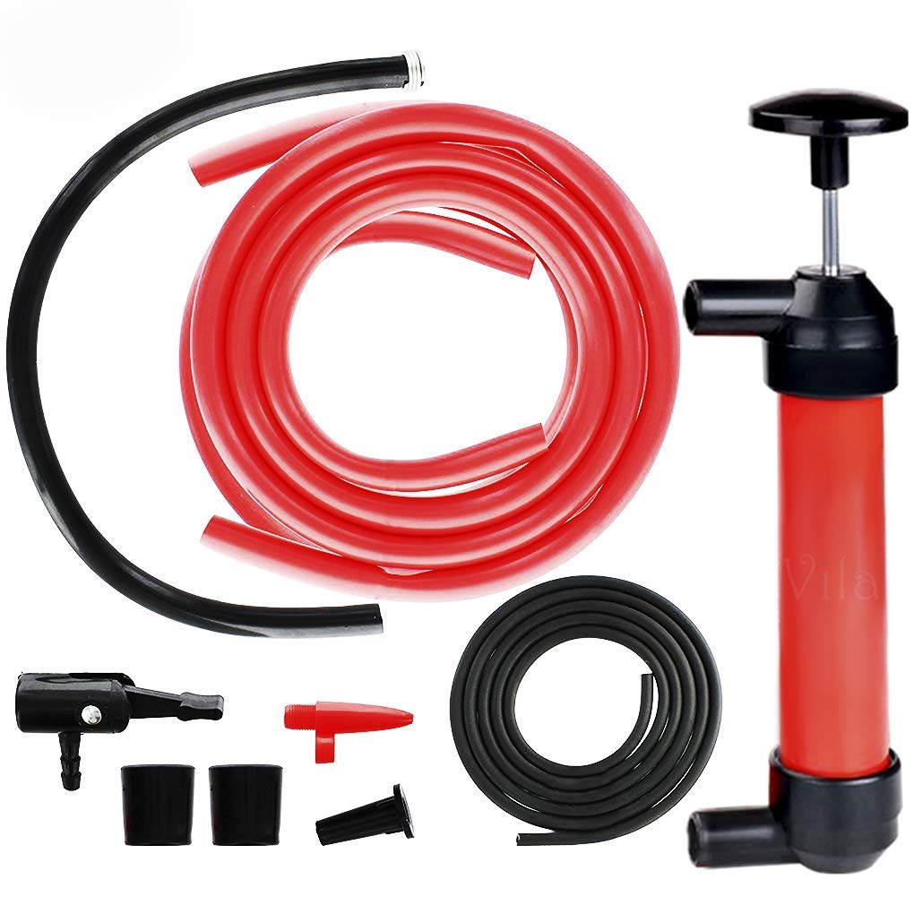 Manual Siphon Pump Kit - Heavy-Duty, Hand Pumping Pipe - Fast Acting 15'' Siphon Tube - Variety of Uses from Automotive, Rain Barrels to Water Gardens by Vila