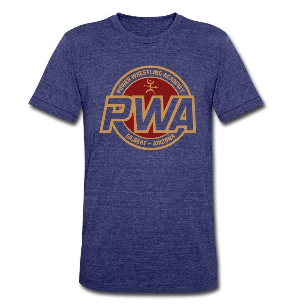 ATHLETE ORIGINALS Unisex Tri-Blend T-Shirt Power Wrestling Academy Pwa Badge by Cb Dollaway M Heather Indigo by ATHLETE ORIGINALS
