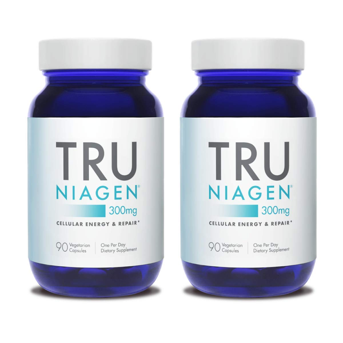 TRU NIAGEN Nicotinamide Riboside - Patented NAD Booster for Cellular Repair & Energy, 300mg Vegetarian Capsules, 300mg Per Serving, 90 Day Bottle (2 Pack)