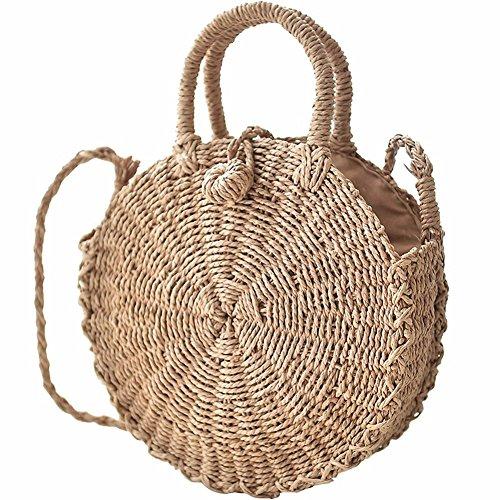 Grass Woven Bag Crossbody Straw Bag Round Handmade Women Hand Bag Stylish Girls Tote Beach Bag Birthday Gift Bag
