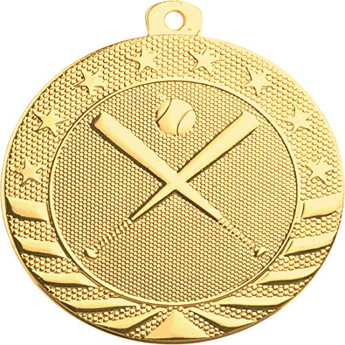 Express Medals 10-Pack of Baseball 2 inch Gold Color 1st Place Medal Trophy with Neck Ribbons Metal Awards