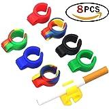 8 pezzi Anello di sigaretta , anello di silicone per sigaretta per lettori di console, musicisti, autisti e tutti i fumatori proteggendo il dito